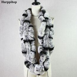 Wholesale Rex Rabbit Fur Wrap - Harppihop* Winter womens Real rex Rabbit Fur stole Wrap Muffler loop infinite rex rabbit fur scarf shawl neckerchief HPS01