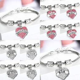 Strassbrief armbänder online-Brief Armbänder Frauen Silber Kristall Strass Herz Charm Armband Familienmitglied Geschenk für die Liebe 45 Styles OOA4280