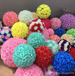 Wholesale 25cm kissing ball flowers - 25CM 10 inch Artificial Encryption Rose Silk Flower Kissing Balls Hanging Ball Christmas Ornaments Wedding Party Decorations Supplies