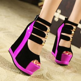 Wholesale european fishing - 2018 European and American sexy nightclubs ultra high and waterproof platform thick bottom fish mouth wedge heel shoe sandals T114