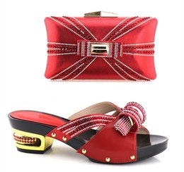 Wholesale Matching Shoes Purses - 2018 High Quality Italian Woman Shoes And Matching Purse Set African Style Low Heel Shoes And Bags For Party Dress Free Shipping YH-03