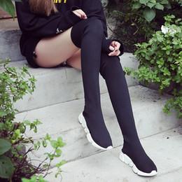 лучшие охотничьи сапоги Скидка 2018 новый плоский носок сапоги для женщин стрейч ткани обувь скольжения на над коленом сапоги D50