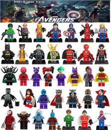 Wholesale Black Plastic Blocks - 500 style Super hero Blocks DC Marvel The Avengers Black Panther Thor Hulk Iron Batman Woder woman Building Blocks Sets Kids toy Bricks