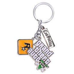 Wholesale Store Promotions - J store PS4 GTA 5 Game keychain Grand Theft Auto 5 Key Chain For Fans Key Ring Holder 4.5cm game souvenirs Jewelry llavero