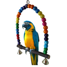 oscillazioni di pappagallo Sconti Bird Parrot Cage Hammock Hanging Swing Toy Pappagallo in legno rosicchiare giocattoli Pet Comportamento Training Supplies Multi Color 12 5hz3 Y