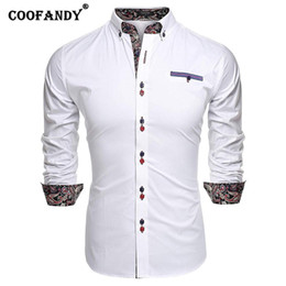 Pulsante nero camicia manica lunga online-Colletto Button Shirt Slim Print Long Turn-Down Autunno Casual Bianco Primavera Fit Rosso Blu Black Sleeve Royal Men