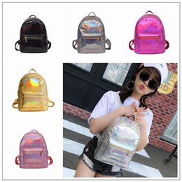 Wholesale metallic phone - 5 Colors Summer Beach Holographic Backpack Metallic Silver Laser Travel School Bags Women Fashion Shoulder Bags Outdoor Bags CCA9867 36pcs