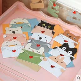 Tarjetas de felicitación universal de vacaciones online-30 unids / set Tarjeta de mensaje de sobre animal de dibujos animados tarjeta de agradecimiento tarjeta de felicitación de cumpleaños del bebé tarjetas navideñas Hoja universal
