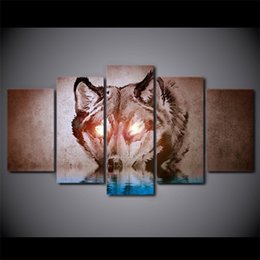 Wholesale Glow Paint Oil - 5 Pcs Set Framed HD Printed Glow In Dark Eyes Wolf Animal Picture Wall Art Print Home Decor Posters Canvas Oil Painting Artwork