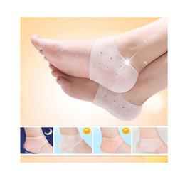 Гель для ног онлайн-2018 новый arriver ноги уход носки 2 шт. новый Силиконовый увлажняющий гель каблук носки с отверстием трещины ноги уход за кожей протекторы