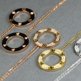 Wholesale Circle Diamond Pendant White Gold - C diamond necklace AU750 France LOVE pendant necklace endless love Woman wedding circle necklace Classic logo Wedding day chain