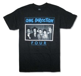 T-shirt immagini online-One Direction Four Band Image Maglietta nera per adulti Boy Band Pop Music
