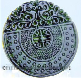 Wholesale chinese jade necklaces - Natural chinese black green Jadeite jade dragon pendant necklace hand-carved