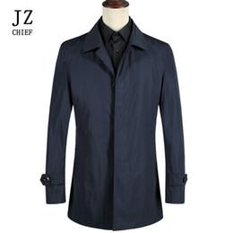 2019 cappotto di trincea smontabile JZ CHIEF Uomo Trench Coat Solid  Windbreak Giacche impermeabili Fodera di c21c646980b