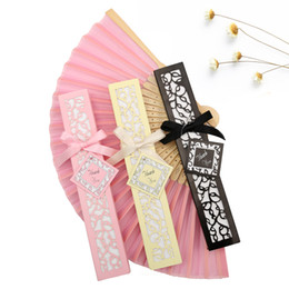 Wholesale christmas favor bags - Hot Sale Chinese Imitating Silk Blank Side Hand Fans Wedding Fan Decoration Fan Bride Accessories Weddings Guest Gifts 50 PCS Per Package