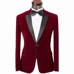 Burgund Samt Hochzeit Smoking 2018 Casual Style Blazer Zwei Stück Schwarz Erreichte Revers Abendgesellschaft Männer Anzüge (Jacke + Pants) von Fabrikanten