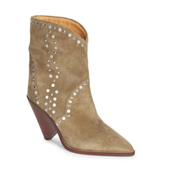 3118cd803fbe Eunice Choo Camel Suede Slip On Mid Calf Women Boots Rivet Decor High Spike Heels  Leather Shoes Retro Design Short Booties inexpensive camel toe women