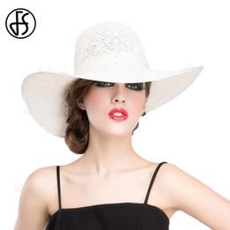 FS primavera verano sombreros de paja para las mujeres grandes de ala ancha  floppy sombrero para el sol moda para mujer blanca playa de viaje niñas Cap  ... 94516d4f6ab