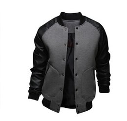 Wholesale Gray Varsity Jacket - Cool College Baseball Jacket Men 2017 Fashion Design Black Pu Leather Sleeve Mens Slim Fit Varsity Jacket Brand Veste Homme