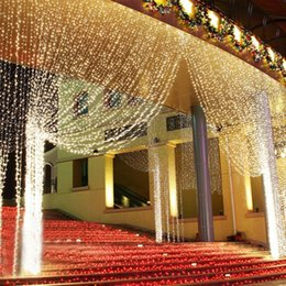 En gros rideaux lumières UE / AU / US Romantique LED Rideau Lumière Chaîne Pour Fête De Mariage Guirlande Fête Fenêtre Décoration navire par DHL ? partir de fabricateur