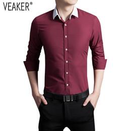 e29f9dd7ec9 2018 Autumn New Men s Casual Solid shirts Male Long Sleeve Slim Fit  Business Shirts Tops Men Black White Shirt Plus Size 5XL