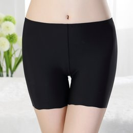 Wholesale Silk Pants For Women - Wholesale-Sexy Women Ladies Safety Panties Casual Comfortable Seamless Ice Silk Safety Pants Solid Shorts Boyshort for Ladies Boxer