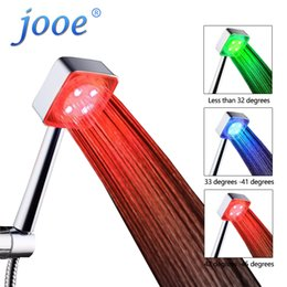 Wholesale Led Color Changing Water Faucet - jooe LED HandHeld Shower head Automatic 7 color changing Shower Water Saving 3 color temperature control Bathroom Accessories