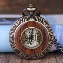holz handuhr Rabatt Luxus Holz Kreis Skeleton Taschenuhr Männer Frauen Unisex Mechanische Handaufzug Römische Ziffern Halskette Uhr Geschenk