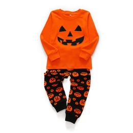 Детская Хэллоуин тыква одежда набор мальчиков девочек с длинным рукавом дома набор из двух частей праздник одежда набор Хэллоуин костюм от Поставщики детский спортивный костюм оранжевый