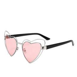 Wholesale Black Heart Shaped Sunglasses - Summer 2018 Pink heart shaped sunglasses women sweet heart vintage metal frame hollow sun glasses for women 2018 female gift party