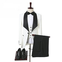 checked pants men Promo Codes - Ivory and Black Men Suits for Wedding Groomsmen Wear Three Piece Shawl Lapel Custom Made Groom Tuxedos Jacket Pants Vest