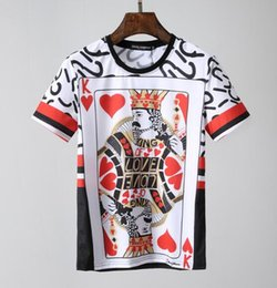 Wholesale gold love print - 2018 spring summer Designer luxury clothing short sleeve Brand mens T-shirt love letter king cards tshirt 69 letter t shirt Casual Tee Top