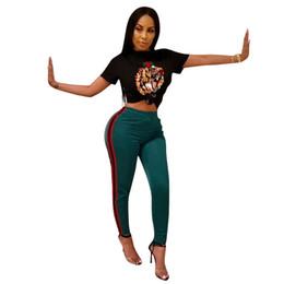 Canada 2019 bandage bodycon costume deux pièces nouvel été sportswear costume femmes mode tigre tête broderie fille vêtements cheap embroidery for girls Offre
