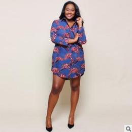 Wholesale ethnic print skirts - 2018 spring summer women shirt dress New large size ethnic style print long-sleeved dress Cardigan ladies Shirts skirts 3XL bule