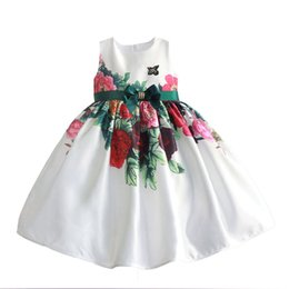 Wholesale Print Big Photos - Cute Big Bow Flower Girls Dresses Floral Printed Girls First Communion Dress Newest Little Girls Prom Dress