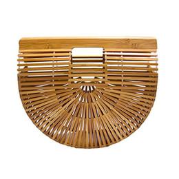 2019 sacs en toile de paille Sac à main en bambou d'été pour dames panier fourre-tout féminin sac à main en bois demi-rond en bambou sac sacs en toile de paille pas cher