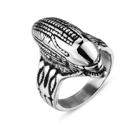 Wholesale Alien Rings - whole saleHigh-Quality Cool Space Horror Alien Men's Ring Creative Punk Polished Titanium Steel Ring Personalized Fashion Jewelry 6C0761