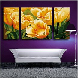 Wholesale Tulips Painting Abstract - Yellow tulips flower Triptych canvas painting 3 sizes of painting by numbers home decoration wall pictures for living room H499