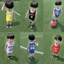 Wholesale pull girl - New Hot summer children's beads pull cotton vest set boys and girls baby sports basketball suit