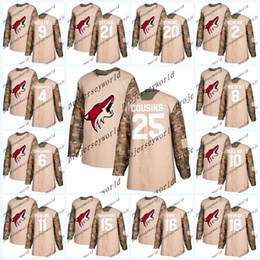 Wholesale Coyote Brown Xl - Womens 25 Nick Cousins 2018 Camo Veterans Day Arizona Coyotes Jerseys 26 Emerson Etem 9 Clayton Keller 21 Derek Stepan Hockey jerseys