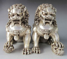 "Wholesale Bronze Foo Dogs - 9.8""Chinese Silver Bronze Fu Foo Dog Guardian lion Statue Pair"