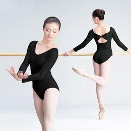 dd58697e9555 Ballerina Dance Costumes Shapewear High Quality Girls Women Gymnastics  leotard U-Neck Black Cotton Ballet Bodysuit