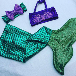 Wholesale Kids Swim Dress - baby girls little mermaid set costume bikini swimwear swimsuit outfits dress bathing suit costume kids toddler girls swimming suits