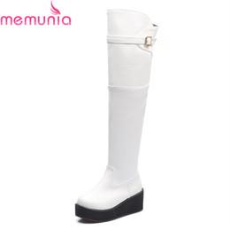 6e3954ec59a8b 2019 bottes noires wedge womens MEMUNIA 2018 nouvelle arrivée bottes hautes  blanc noir bout rond coins