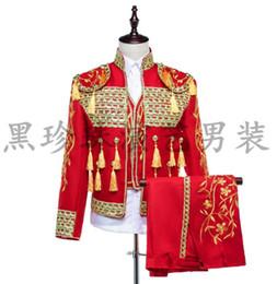 Vestidos de baile de lentejuelas rojas online-Trajes de hombres rojos diseños Masculino Homme Terno trajes de etapa para cantantes hombres chaqueta de lentejuelas ropa de baile estilo chaqueta vestido Corea