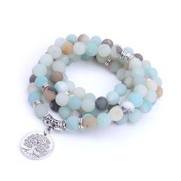 Wholesale Amazonite Jewelry - Women bracelet 8mm Amazonite beads with Life tree Charm Bracelet 108 Frosted stone mala bracelet yoga jewelry dropshipping