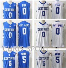 2739be691ed2 Kentucky university Wildcats basketball jerseys  0 De Aaron Fox 3 Edrice  Adebayo 5 Malik Monk custom KU college basketball player uniform