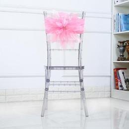 decorações de cadeiras de casamento de laranja Desconto Chegada nova Elasticidade Cadeira Sash Rose Padrão Arco Bandage Assento Fácil Desmontagem Decorar Caixões De Casamento Clássico de Alta Qualidade 13dy BB
