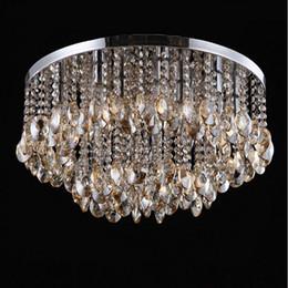 techo de madera moderno Rebajas 50 CM Flush Mount Moderno Luces de Techo K9 de cristal lámpara de techo dormitorio lámpara luces de la sala de moda de iluminación de techo de cristal