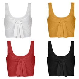 98519dcc9e93a Women Sexy Sleeveless Halter V Neck Bow Tie Crop Tops Bandeau Vest Blouse  Basic halter crop top wholesale on sale